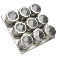 Load image into Gallery viewer, LOLO 9/12 Pieces Magnetic Spice Jars Set Stainless Steel