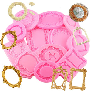 LOLO Mirror Fondant Cake Decorating Tools Frame Cupcake Chocolate Wedding Cake Border Silicone.
