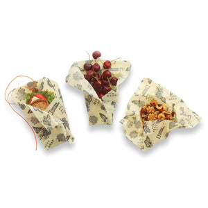 Beeswax Food Wrap, Monarch Print, 3 Pack