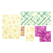 Load image into Gallery viewer, Beeswax wraps - Variety Pack (2 SM, 2 MED, 2 LG, 1 BREAD)