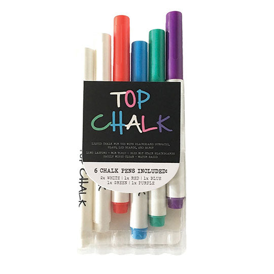 Fine Tip Liquid Chalk Markers - Set of 6
