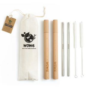 Stainless Steel Straws with Wood Travel Case