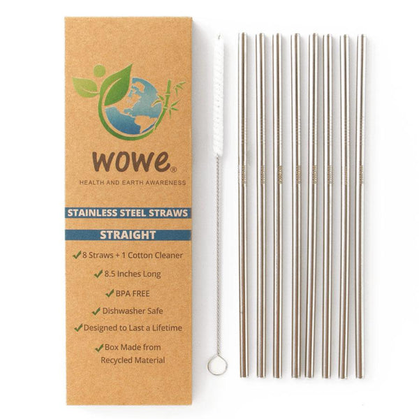 Straight Stainless Steel Metal Straws (set of 8 + brush)