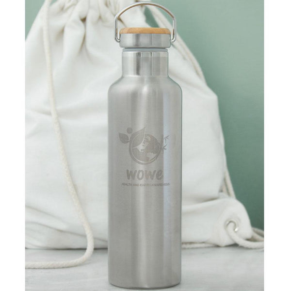 Stainless Steel Water Bottle with Bamboo Top (25 oz)