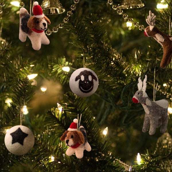 Santa's helpers - wool dog ornaments