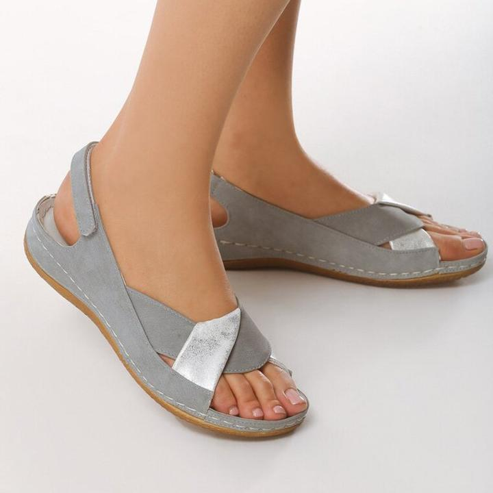 Peep Toe Women Flat Heel Magic Tape Summer Sandals