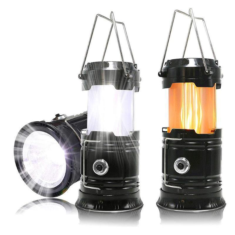 3-IN-1  PORTABLE OUTDOOR CAMPING LED FLAME LANTERN FLASHLIGHT