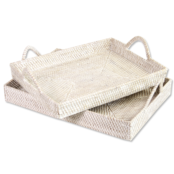 Serving Trays - White Wash Rattan