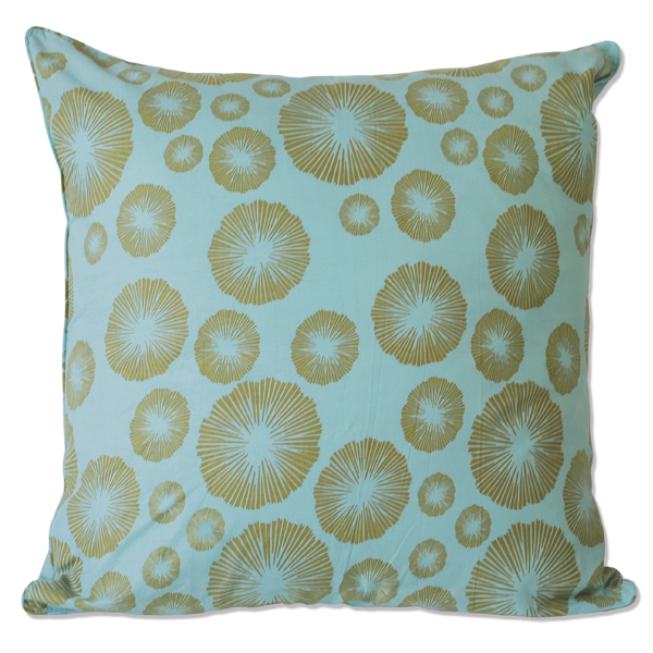 Olive Aqua Seaflowers Large Cushion Cover