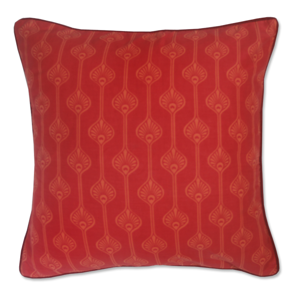 Red Orange Peacock Stripe Small Cushion Cover