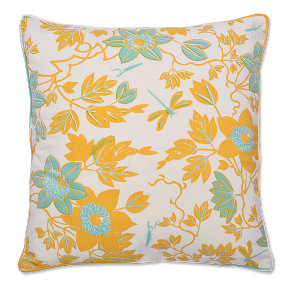 Turquoise Passion Flower Medium Cushion Cover