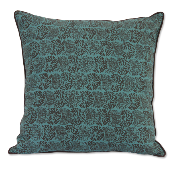 Teal Brown Tubmleweed Medium Cushion Cover
