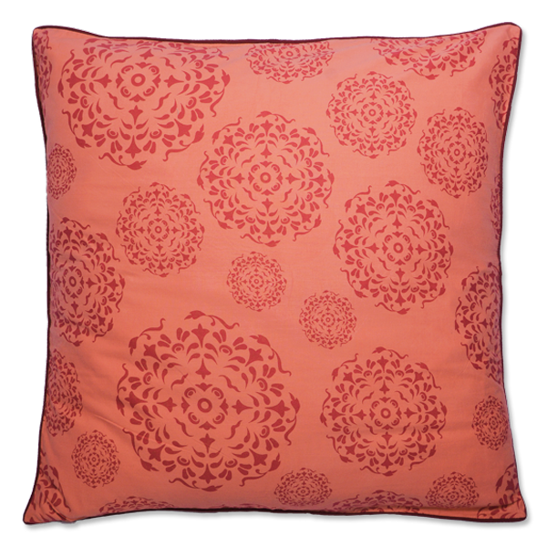 Red Orange Mandala Large Cushion Cover