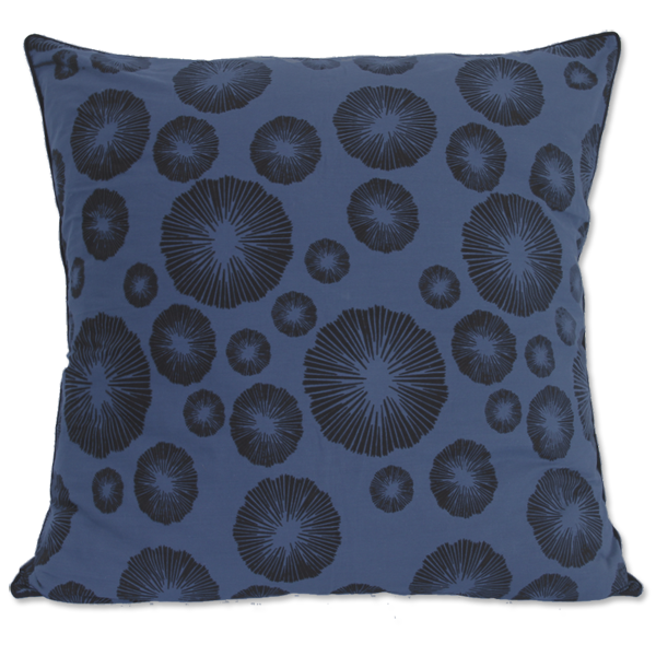 Indigo Black Seaflower Large Cushion Cover