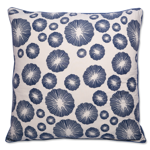Indigo Seaflower Medium Cushion Cover