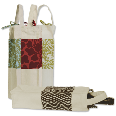 Set of 6 - Assorted Canvas Wine Bags