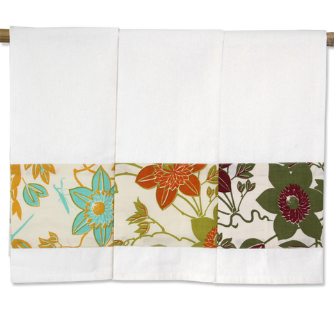 Set of 3 - Passion Flower Tea Towels