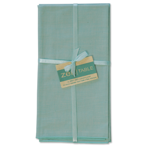 Set of 8 - Hand Loomed Cotton Aqua Napkins