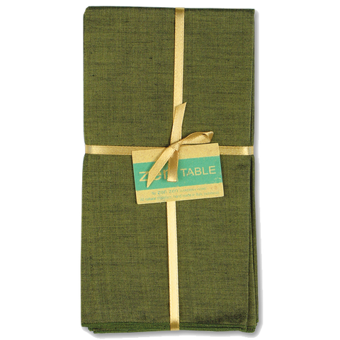 Set of 8 - Hand Loomed Olive Napkins