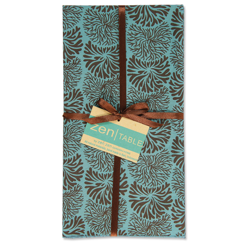 Set of 8 - Tumbleweed Teal Brown Napkins