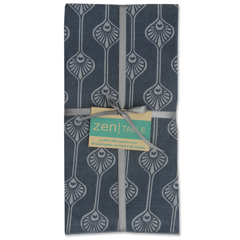 Set of 8 - Peacock Stripe Blue Napkins