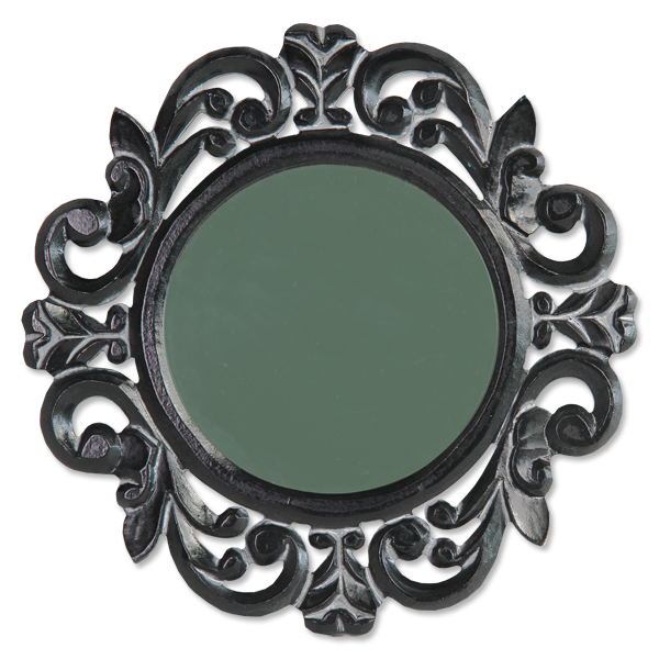 Small Round Antique Black Mirror