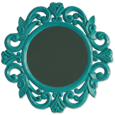 Small Round Antique Teal Mirror