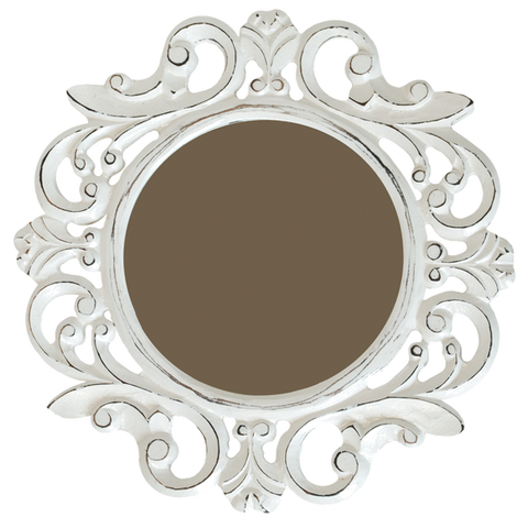 Sustainable Wood Small Antique White Mirror