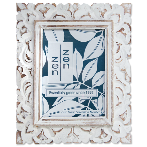 Medium Carved Photo Frame - Whitewash
