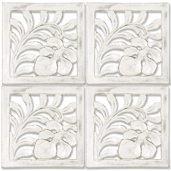 Set of 4 Whitewash Trivit tiles