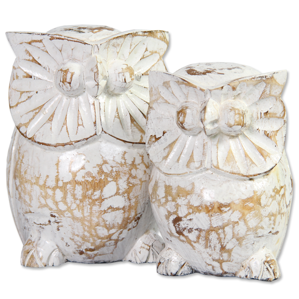 Set of 2 Wooden Owl Friends