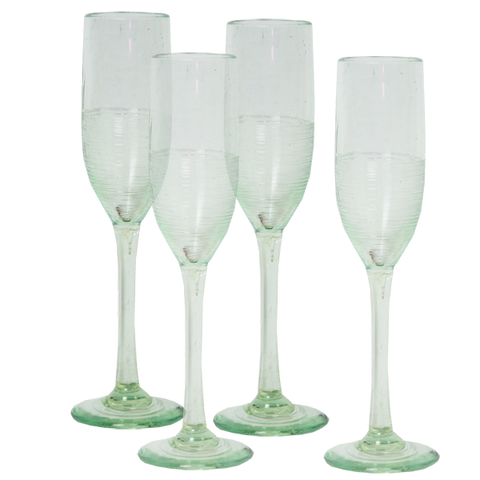Set of 4 - Scrappy Champagne Flutes