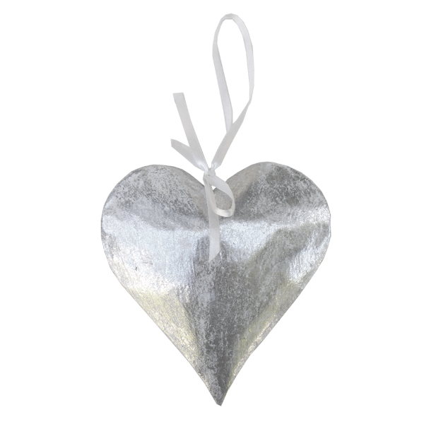 Set of 2 Big Silver Heart Ornaments