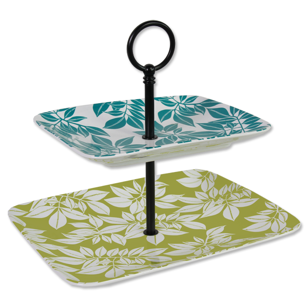 Two Tiered Leaf Serving Tray