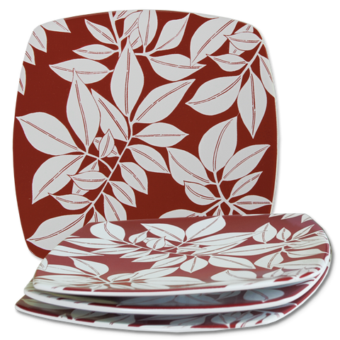 Set of 4 - Maroon Java Dessert Plates
