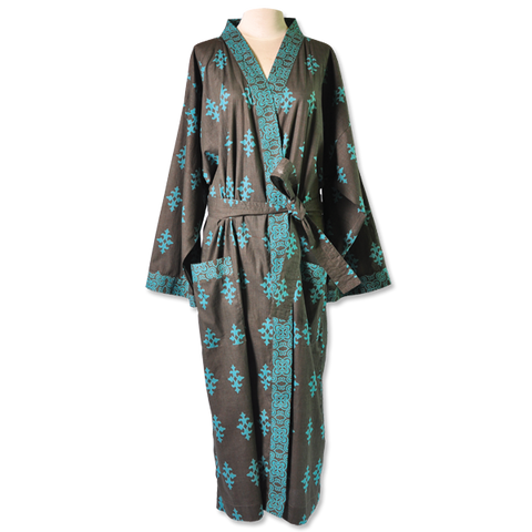 Teal Jewel Kimono Robe in 2 sizes