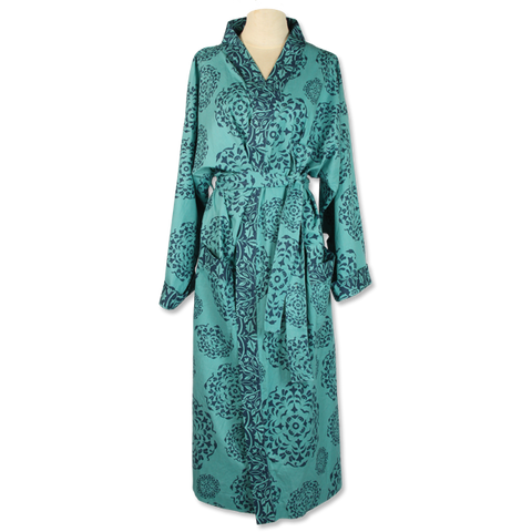 Teal Mandala Kimono Robe in 2 sizes