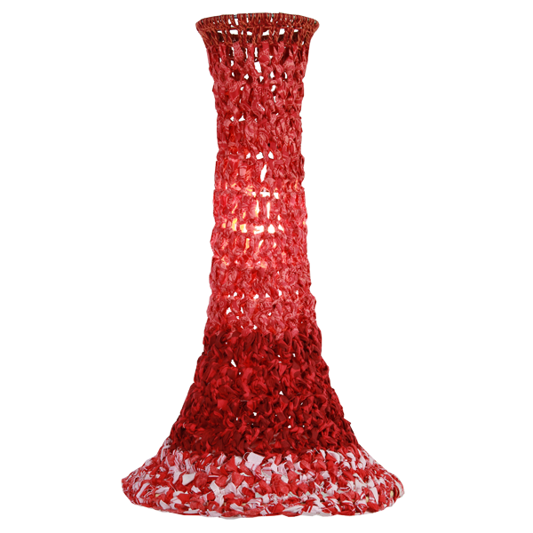 Red Crocheted Lamp Shade