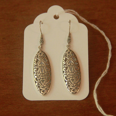 Lacy Silver Drop Earrings