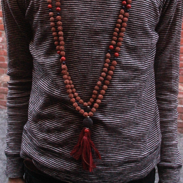 Black Red Rudraksha Mala