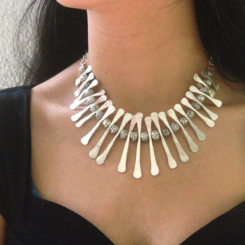 Silver Tribal Collar Necklace