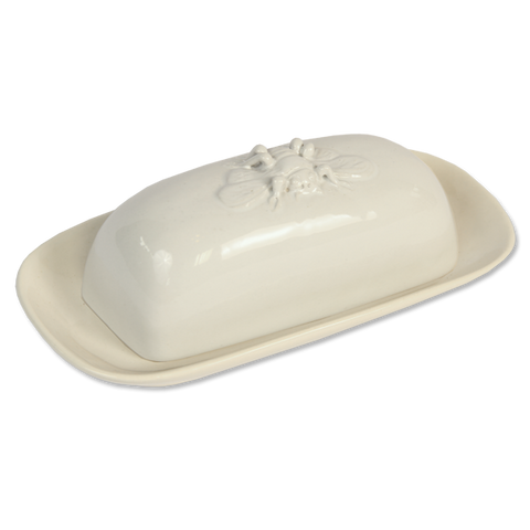 White Bee Butter Dish