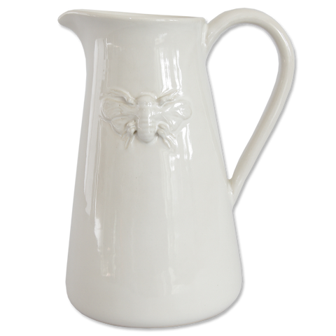 Ceramic White Bee Pitcher Large