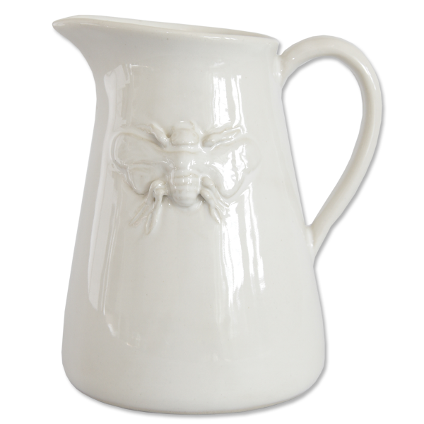 Ceramic White Bee Pitcher Small