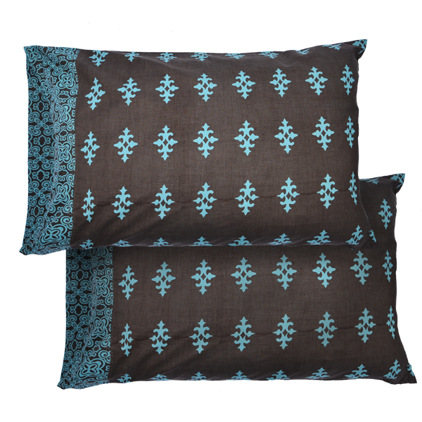 Teal Brown Jewel Standard Pillow Cases set of 2