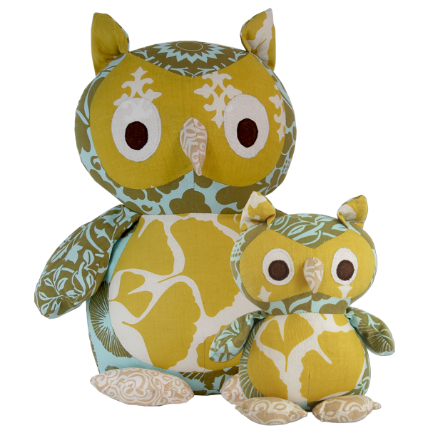 Olive Aqua Scrappy Owl in 2 sizes