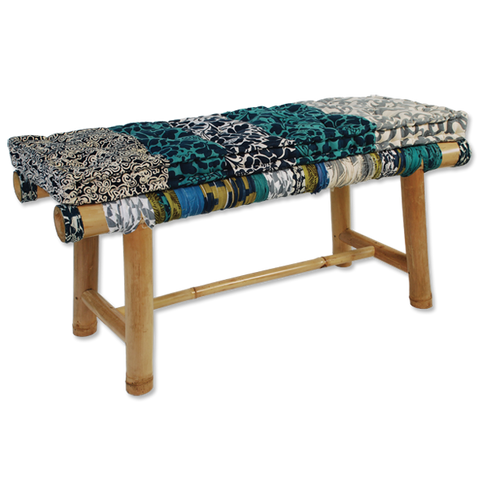 Bamboo Bench Blues w/Cushion