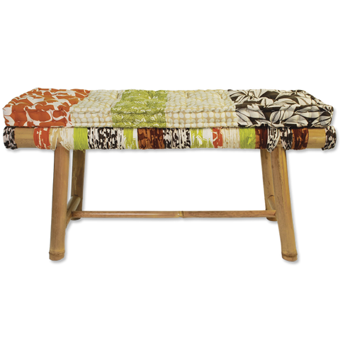 Bamboo Bench Citrus w/Cushion