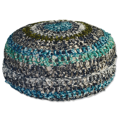 Crocheted Pouf - Blues