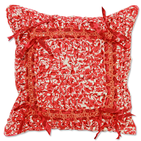 Red Crocheted Cushion Cover